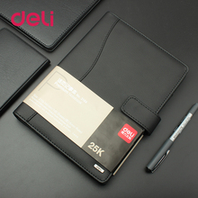 Deli 1pcs leather notebook high quality business meeting diary book with a gel pen black stationery thick 3164