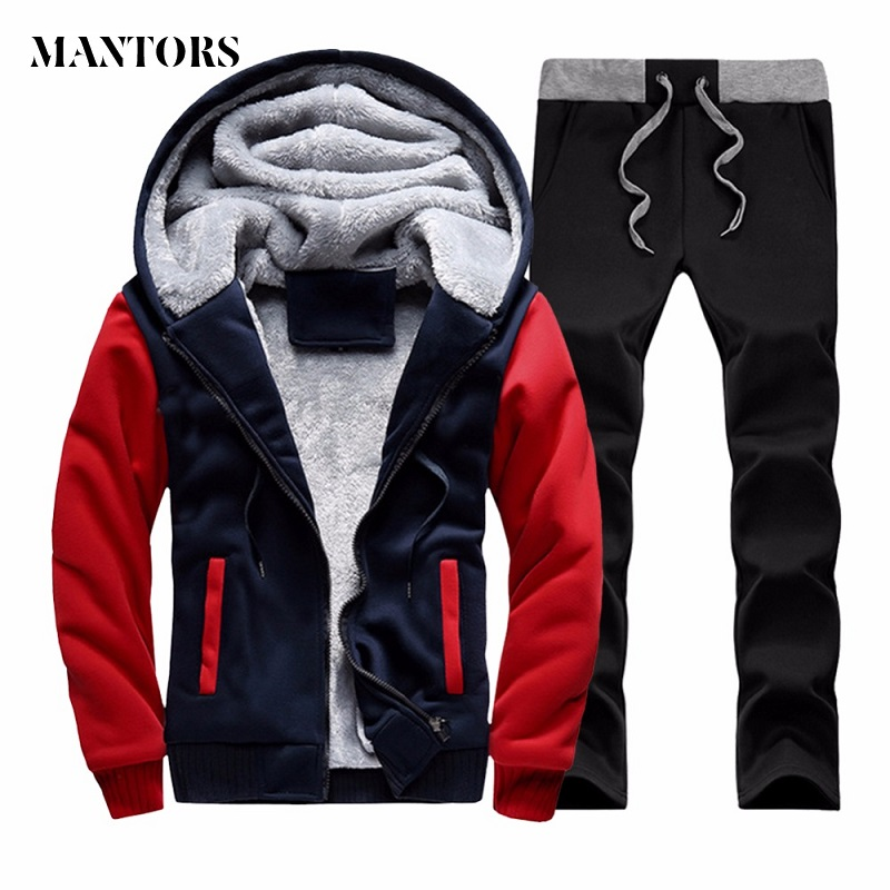 Winter Tracksuits Men Set Thicken Fleece Hoodies+Sweatpants Two Piece Sets Warm Casual Solid Male Sportswear Hooded Suit US Size