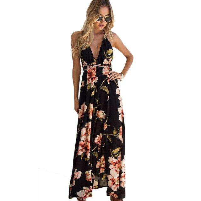 a5ea96929 Floral Print Backless Beach Dress Women Deep V-Neck Sleeveless Maxi Dress  Summer High Slit