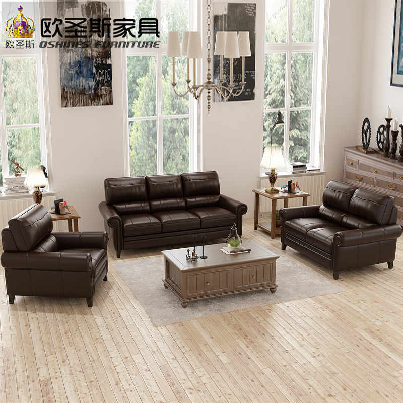 Chocolate Cheap Chesterfield Sofa American Style Italian Top Grain Leather  Sofa Factory Direct Sale Furniture Sofa Prices F69A