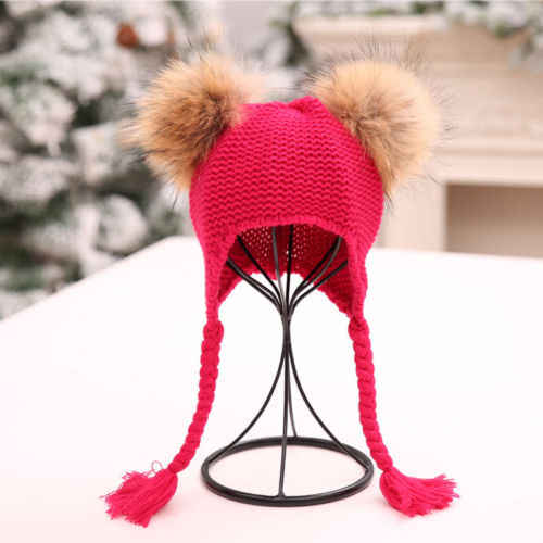 74de71ac924 ... New Winter Warm Baby Knit Hat Double Faux Fur Pom Pom Hats Boy Girls Natural  Fur ...