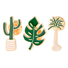 1pc Badge Plant Potted Collar Shoe Lips Pin Enamel Brooch Coconut Tree Cactus Leaves Metal Badge Pin Backpack Jewelry Gifts(China)