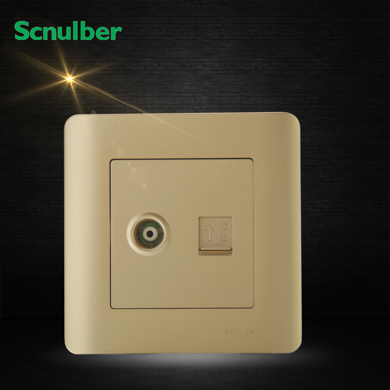 86mm champagne TV and Telephone RJ11 wall switch Socket Outlet white one gang rj11 telephone wall switch and rj45 computer 8 wire socket
