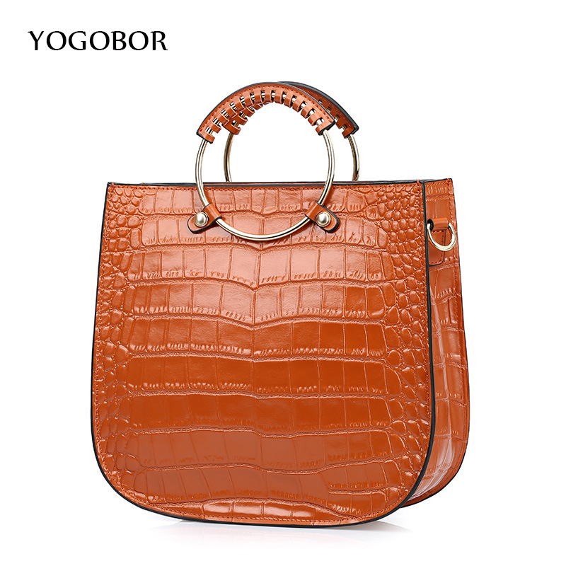 100% Genuine Leather Handbags Female Fashion Alligator Pattern Casual Tote Bag With Ring Handle Top Quality Women Shoulder Bag