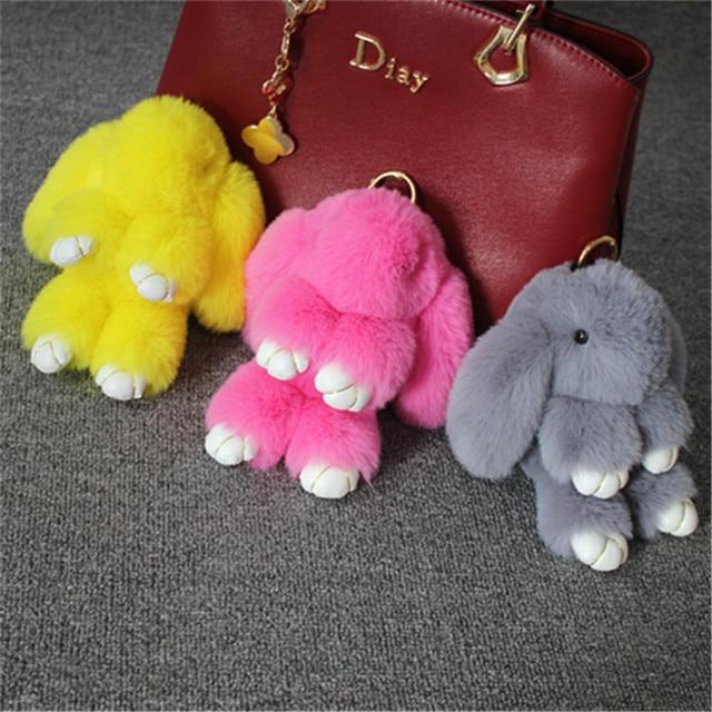 Fluffy Faux Rex Pele De Coelho Pompom Mulheres Keyring Trinket Chaveiro Coelho Lebre Brinquedo Homem Anel Chave Do Carro Titular Saco Encantos jóias Presente