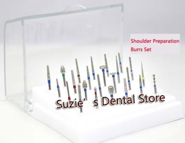 High Speed Burs 24Pcs Dental Diamond Burs Drill Shoulder Preparation Set + plastic holder