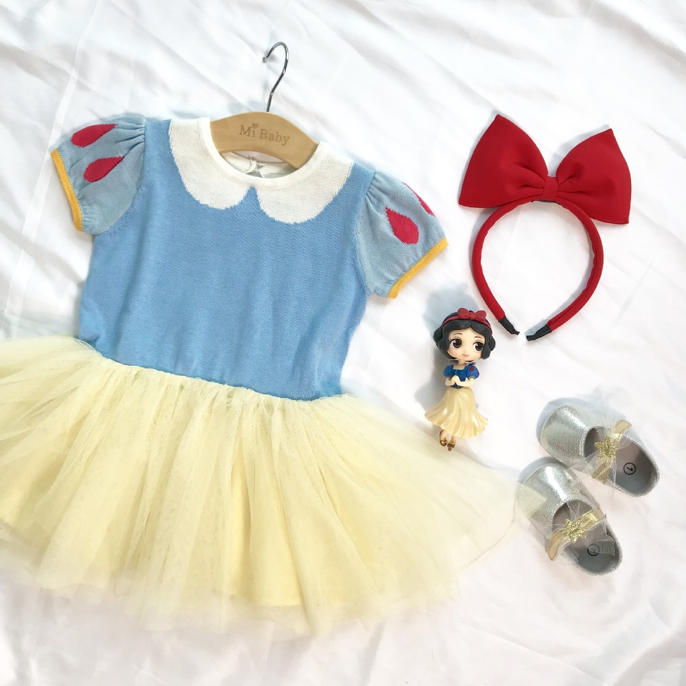 2019 Summer Design Baby Girls Snow White Princess Dress Red Bowknot Hair Hoop Toddlers Kids Dresses Knitted Patchwork Ball Gown