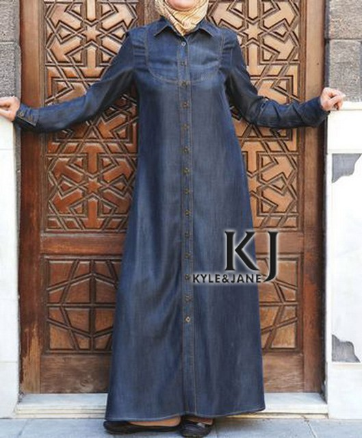 2 Colors Medium length Denim Abaya Middle East Traditional clothing Long sleeve women Tunic with pockets & buttons