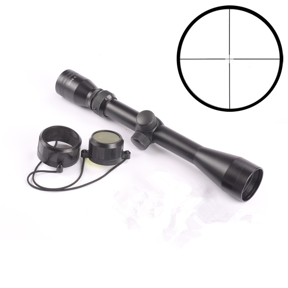 цена 3-9x40 Rifle Scope Duplex Reticle Rifle sight Riflescope Tactical Optics Sight Scope for Air Gun +25.4mm Mount Rail Hunting Caza