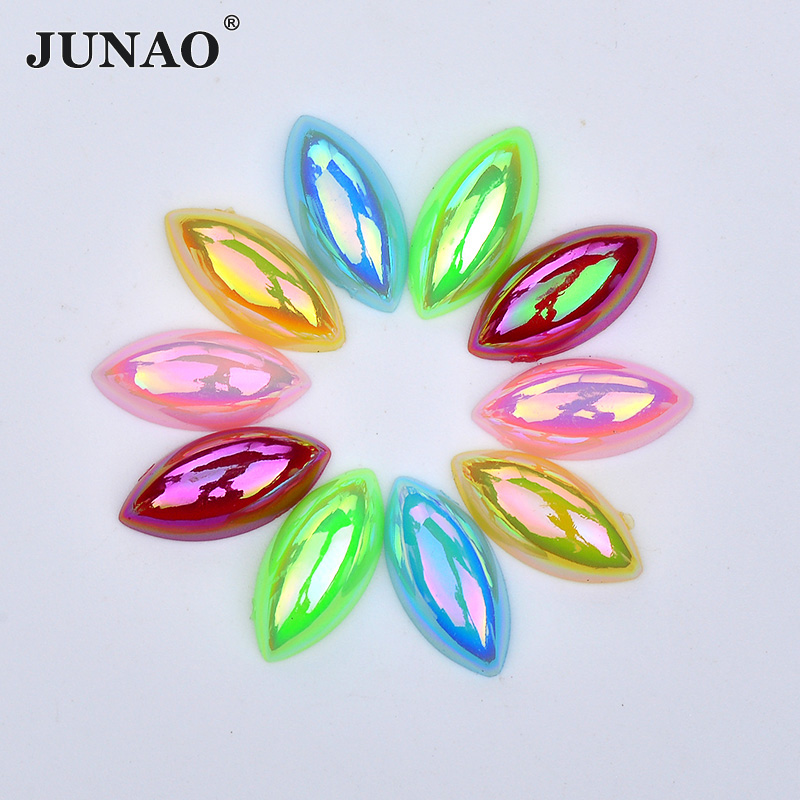 JUNAO 7*15mm Mix Color Crystal AB Acrylic Rhinestones Beads Horse Eye Strass Flatback Crystal Applique Glue On Stones for Crafts