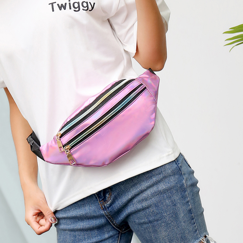 AIREEBAY Holographic Waist Bags Women Silver Fanny Pack Female Belt Bag Black Geometric Waist Packs Laser Chest Phone Pouch 4