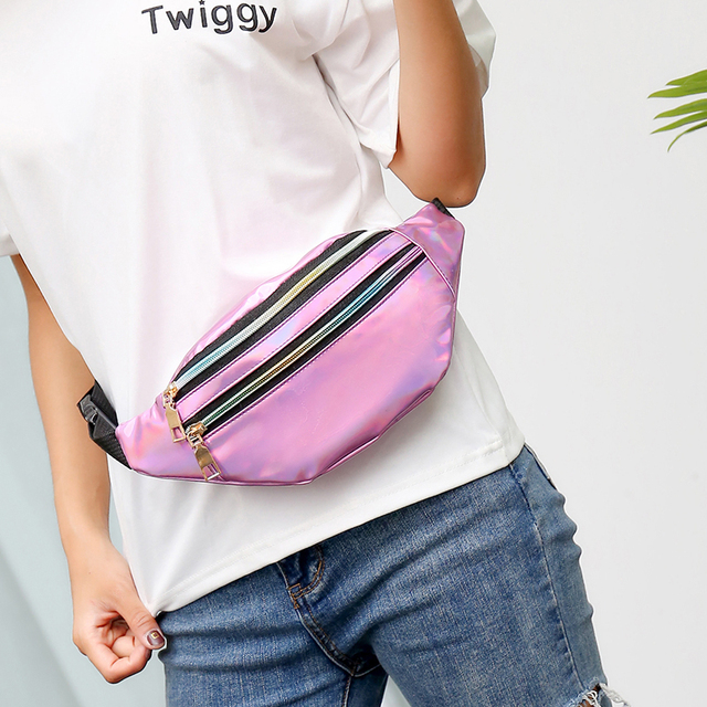 Holographic Waist Bags Fanny Pack Belt Bag Women Geometric 3