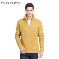TIGER CASTLE Men 2017 Thick Woll Sweater Fashion Solid Men S Knitted Cardigan Autumn Winter Male