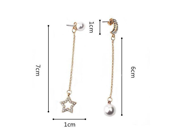 geekoplanet.com - Asymmetric Rhinestone Moon Star Planet Earrings