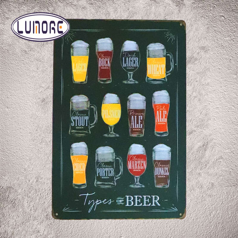 Types of Beer Shabby chic signs Metal plaques Poster BedroomBar Pub Tavern Wall Decor 20*30cm