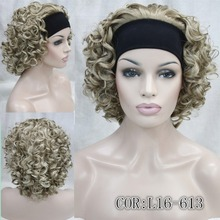 цена на Honey Short Curly Blonde mix Wig Headbands 3/4 wigs Blonde ,COLOUR CHOICES  Ladies Heat Resistant Hair Wigs FREE SHIPPING