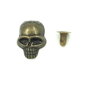 30 Sets Bronze Tone Sull Skeleton Bone Spike Garment Rivets Studs Spots DIY Bag Shoes Clothes Making 16x12mm