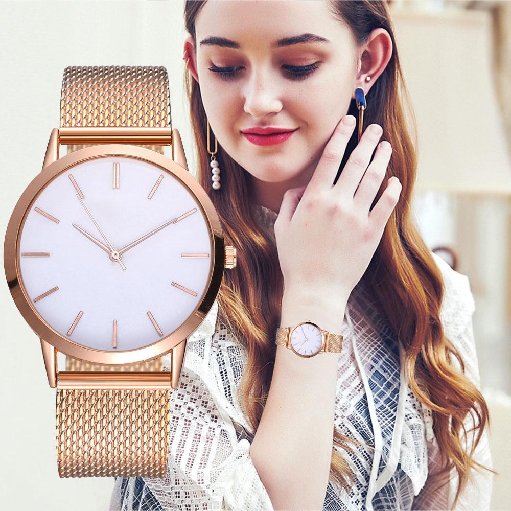 Montre Femme Modern Fashion Black Quartz Watch Women Mesh Steel Relogio High Quality Wrist Watch Women Watches Reloj Mujer #A