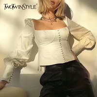 TWOTWINSTYLE Sexy Back Lace Up Womens Tops And Blouses Shirt Square Collar Lantern Sleeve White Blouse Tops Female Slim Clothing