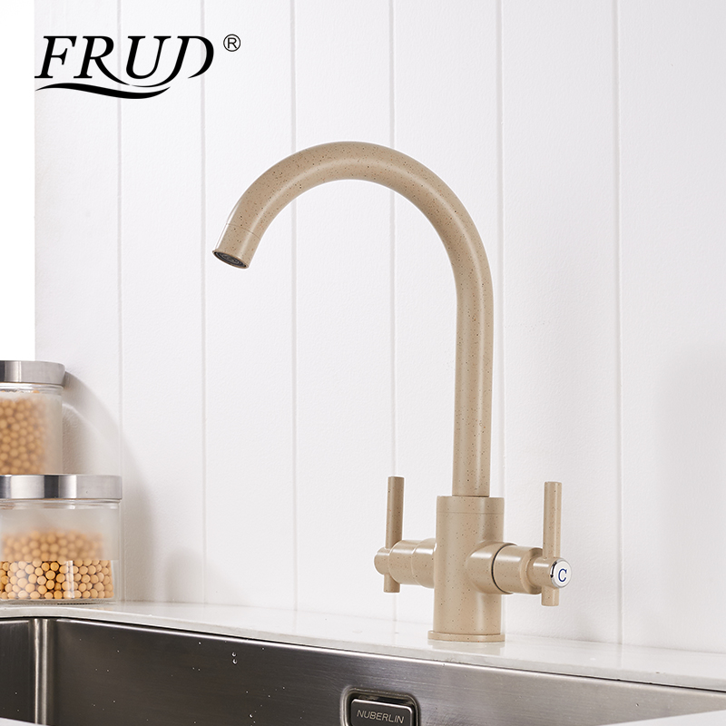 FRUD Kitchen Sink Faucets Dual Handle Deck Mounted Hot and Cold water mixter Brass Single Hole Rotating Simple Design Y40019FRUD Kitchen Sink Faucets Dual Handle Deck Mounted Hot and Cold water mixter Brass Single Hole Rotating Simple Design Y40019