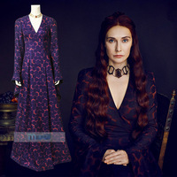 Game of Thrones 8 Cosplay The Red Woman Melisandre LongDress Outfit Cosplay Costume Halloween Carnival Dress Full Set +Necklace