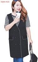 Chest 102 126cm High Quality XL 4XL New Autumn 2016 Black Long Vest Women Big Size