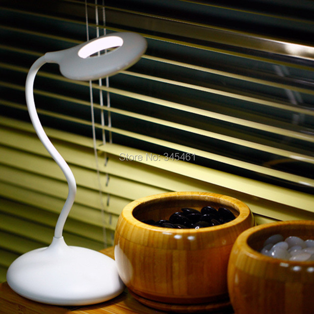 USB Led Dimmible Desk Lamp with Touch Sensor on/off Switch, Novelty Table Light Lamps for Kids/Adults Eye-Protection, White Body