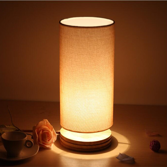 Cylindrical Wooden Small Table Lamp Modern Bedroom Bedside Lamp