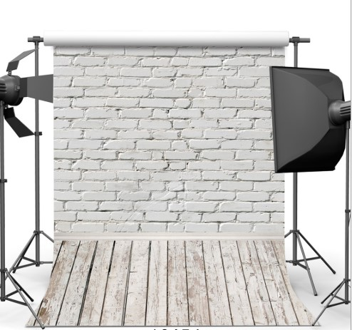 White Brick Wall Photography Backdrops Wooden Floor Backgrounds For Pet Toy Photo Studio Baby Shower Newborn Children Photophone