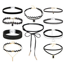 10 stks/set Gothic Tattoo Leather Choker Kettingen Set voor Womens Hollow Out Black Lace Hanger Kettingen Sieraden Collier Ketting(China)