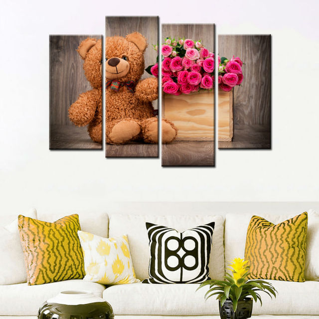Home decor teddy bear flowers modern canvas painting art wall pictures for living room poster print