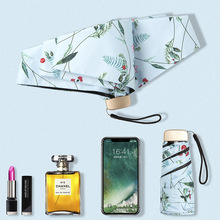 Mini ultra light fold umbrella Anti-UV Sunny Sunscreen Female Pocket green plants pattern fashion