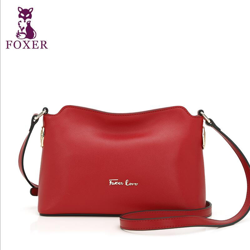 2017 New FOXER  quality  leather women bag famous brands simple fashion women shoulder messenger chinese style cowhide small bag laorentou new arrivals women leather bag famous brands high quality cowhide leather fashion handbags shoulder crossbody bag n5