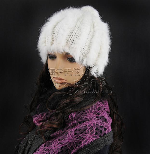 La manera del envío libre sombrero de invierno de punto de piel de conejo real de muchos colores casquillo caliente estilo caliente al por mayor