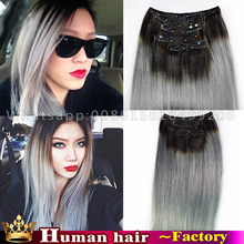 7pcs Straight grey flip clip ins hair extensions Brazilian virgin natutal ombre #1b/gray hair clip in human real hair extensions