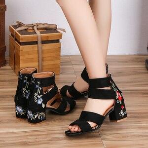 Image 5 - Lucyever 2019 Bordados Mulheres Verão Sandálias de Flores Quadrados Sapatos de Salto Alto Cinta Fivela Casuais Sandálias Gladiador para a Mulher