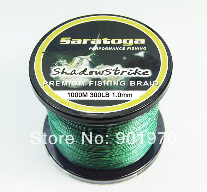 Free shipping Top Quality 300LB 1000M 8 strand PE briaded fishing line,fishing tackle. Green color free shipping 1000m 300lb 100% uhmwpe braid kitesurfing line 1 2mm 4 weave