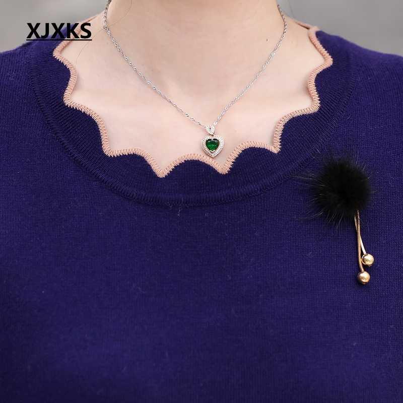 XJXKS весна и осень с длинными рукавами свитер сплошной цвет лотос лист воротник плюс размер свободный плюс размер кашемировый женский свитер