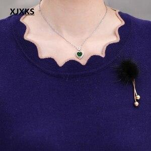 Image 3 - Xjxks 봄과 가을 긴팔 스웨터 단색 연꽃 잎 칼라 플러스 크기 느슨한 플러스 크기 캐시미어 여성 스웨터