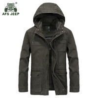 AFS JEEP 2017 Military quality plus size M 4XL men's autumn casual brand 100% cotton jacket coat spring man hooded jackets coats