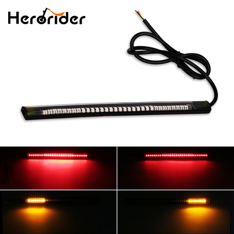 Flashing Red/Amber Flexible Motorcycle Brake Lights Turn Signal Led Light Strip Moto License Plate Light Tail Stop Strip Light
