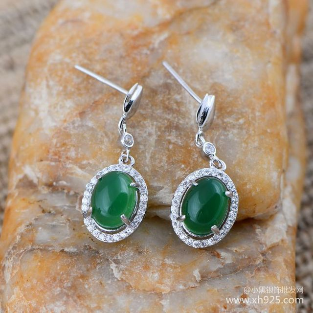 925 sterling silver jewelry inlaid with silver ice retro chalcedony micro small zircon female Earrings xh044903w