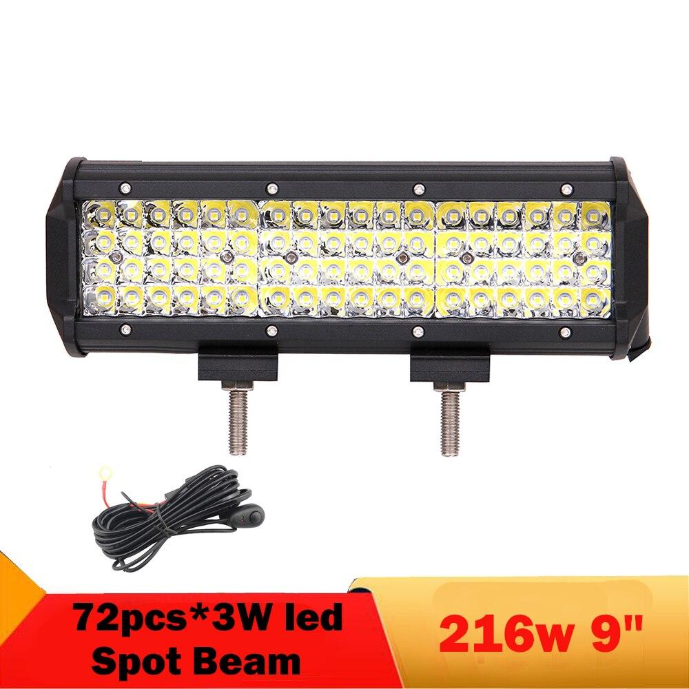 216w led offroad light bar 9 39 39 spot led work light 12 24. Black Bedroom Furniture Sets. Home Design Ideas