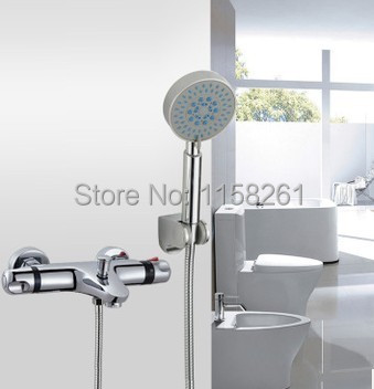Luxury High Quality Bathroom Chrome Rain Shower Set,Thermostatic Mixer control Shower faucet Set,Wall Mounted Free shipping 829C frap new shower faucet set bathroom thermostatic faucet chrome finish mixer tap abs handheld shower wall mounted f2403