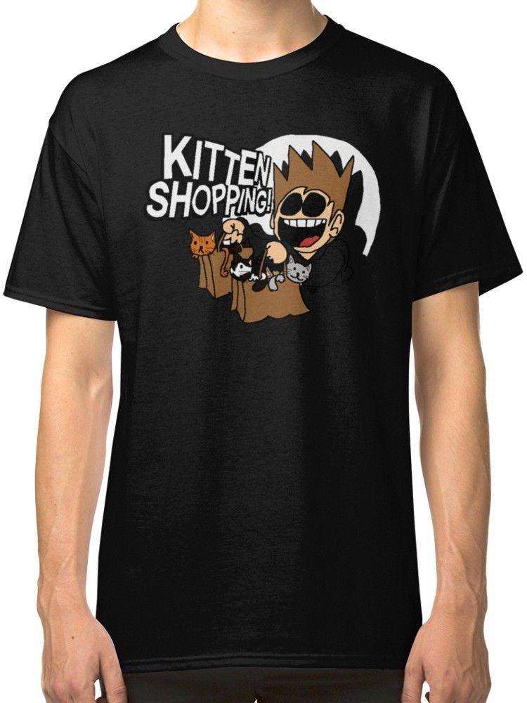 Eddsworld Kitten Shopping Mens Black Tees Shirt Clothing T Shirts Man Clothing Free Shipping Top Tee T-Shirt Men Short