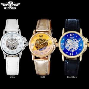 Image 5 - WINNER brand women watches skeleton mechanical watch white leather band ladies simple fashion casual clock relogio femininos