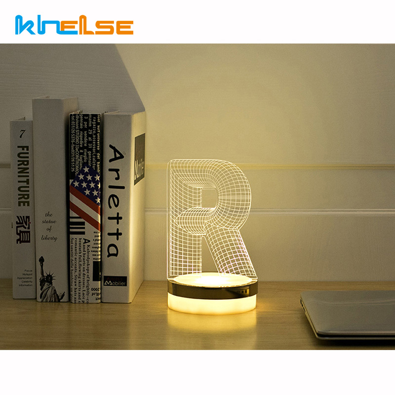 Acrylic Letter R 3D LED Lamp Baby Night Light Sleeping Lighting 5V Small led table Lamp Big white Creative Small Desk Lamp creative tractor shaped 3d led desk light colorful car night light remote control indoor lighting acrylic table lamp wholesale