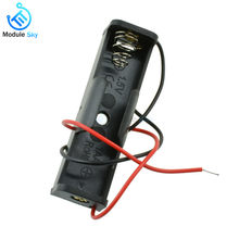 1Pcs 1 x AA Battery 3.7V Clip Holder Box Case Black With Wire Lead High Quality(China)
