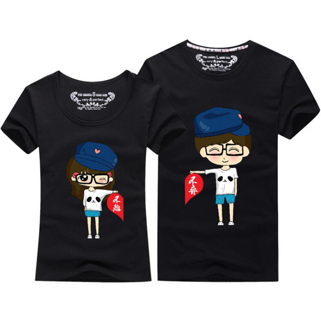 16bbbc43cc Summer Korean Fashion Matching Couple Clothes Cute Cartoon Sweet Tops Short  Sleeve Couple T Shirts For