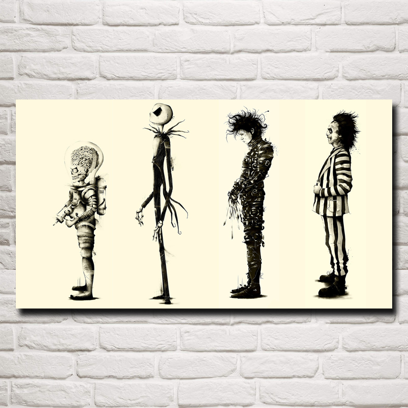 Tim Burton Movies Edward Scissorhands Classic Home Դեկոր Ներկարարություն Art Silk Fabric Poster 11x20 16x29 20x36 Inches Free Shipping